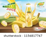 banana bottled juice with fresh ... | Shutterstock .eps vector #1156817767