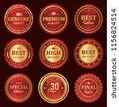 red and gold seal badge label... | Shutterstock .eps vector #1156824514