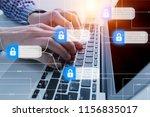 hacker attack and data breach ... | Shutterstock . vector #1156835017