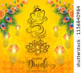 happy diwali festival card with ... | Shutterstock .eps vector #1156840984