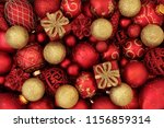 red and gold christmas bauble... | Shutterstock . vector #1156859314