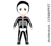 kid with a skeleton costume.... | Shutterstock .eps vector #1156869937