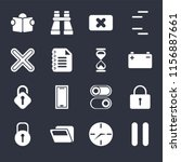 set of 16 icons such as pause ...