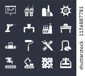 set of 16 icons such as machine ...