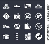 set of 16 icons such as no...
