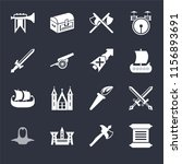 set of 16 icons such as scroll  ...