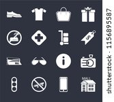 set of 16 icons such as mall ...