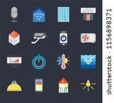 set of 16 icons such as light ...