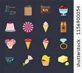 set of 16 icons such as butter  ...