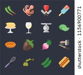 set of 16 icons such as hot dog ...