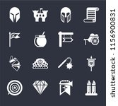 set of 16 icons such as tower ...