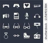 set of 16 icons such as radio ...