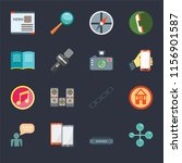 set of 16 icons such as social...