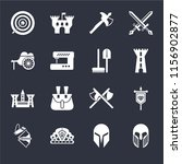set of 16 icons such as armour  ...