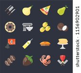 set of 16 icons such as butcher ...