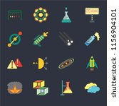 set of 16 icons such as cloudy  ...