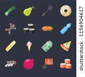 set of 16 icons such as sushi ...