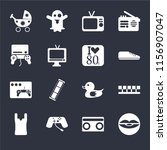 set of 16 icons such as lip ...