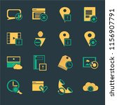 set of 16 icons such as cloud...