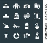 set of 16 icons such as farmer  ...