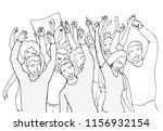 happy crowd. people raised... | Shutterstock .eps vector #1156932154