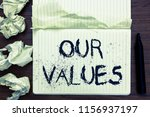 word writing text our values.... | Shutterstock . vector #1156937197
