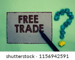 Small photo of Word writing text Free Trade. Business concept for The ability to buy and sell on your own terms and means Gray paper marker crumpled papers forming question mark green background.