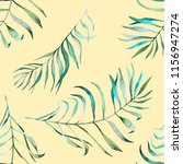 tropical leaves watercolor... | Shutterstock . vector #1156947274