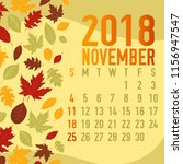 november autumn  fall calendar... | Shutterstock .eps vector #1156947547