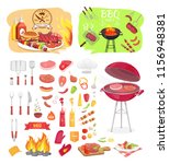 bbq grill party time isolated... | Shutterstock .eps vector #1156948381
