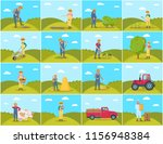 farmer with pig and cow... | Shutterstock .eps vector #1156948384
