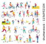 couple running and riding bike... | Shutterstock .eps vector #1156952104