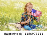 cute kid with american flagpole ... | Shutterstock . vector #1156978111