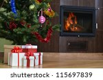 christmas tree and christmas...   Shutterstock . vector #115697839