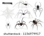 realistic spider. halloween 3d... | Shutterstock .eps vector #1156979917