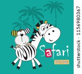 cute zebra and monkey cartoon... | Shutterstock .eps vector #1156980367