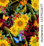 seamless floral pattern. blue...   Shutterstock . vector #1157012677