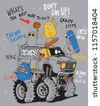 cool monster skateboarding... | Shutterstock .eps vector #1157018404