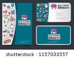 a set of flyer and cards.... | Shutterstock .eps vector #1157033557