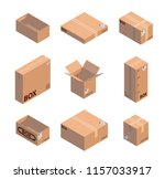 carton packaging box. isometric ... | Shutterstock .eps vector #1157033917