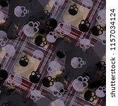 seamless pattern with skulls.... | Shutterstock . vector #1157034124