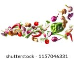 flying vegetables isolated on... | Shutterstock . vector #1157046331