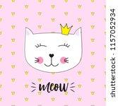 little cute cat princess ... | Shutterstock . vector #1157052934