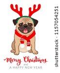 christmas pug dog cartoon... | Shutterstock .eps vector #1157054251