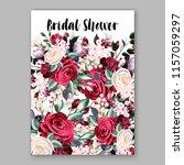 watercolor red burgundy rose... | Shutterstock .eps vector #1157059297