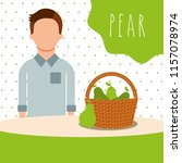 man with wicker basket filled... | Shutterstock .eps vector #1157078974