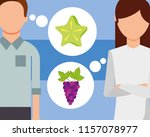 man and woman talking of fruits ... | Shutterstock .eps vector #1157078977