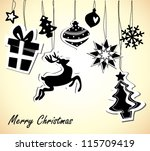 christmas card with black and... | Shutterstock .eps vector #115709419