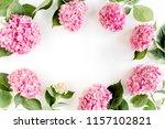 frame of pink hydrangea flowers ... | Shutterstock . vector #1157102821