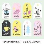 set colored christmas printable ... | Shutterstock .eps vector #1157103904